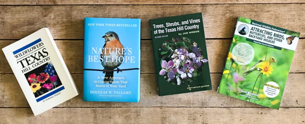 Texas native plant books on coffee table