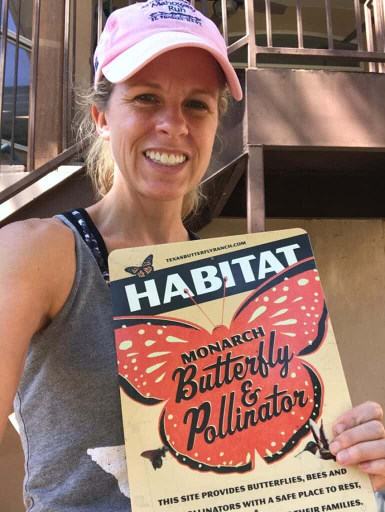 Monarch butterfly and pollinator habitat sign from Texas Butterfly Ranch.