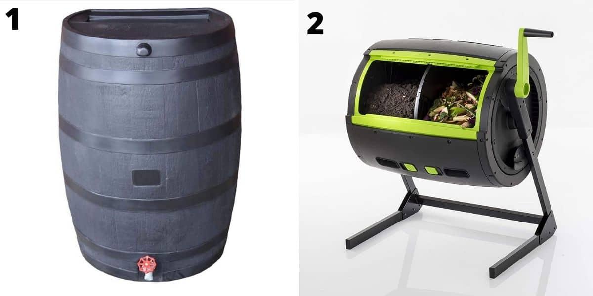 Top rain barrel and tumbler composter